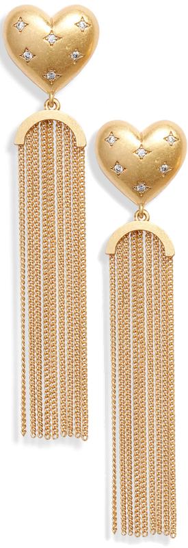 Kate Spade New York my precious heart fringe earrings
