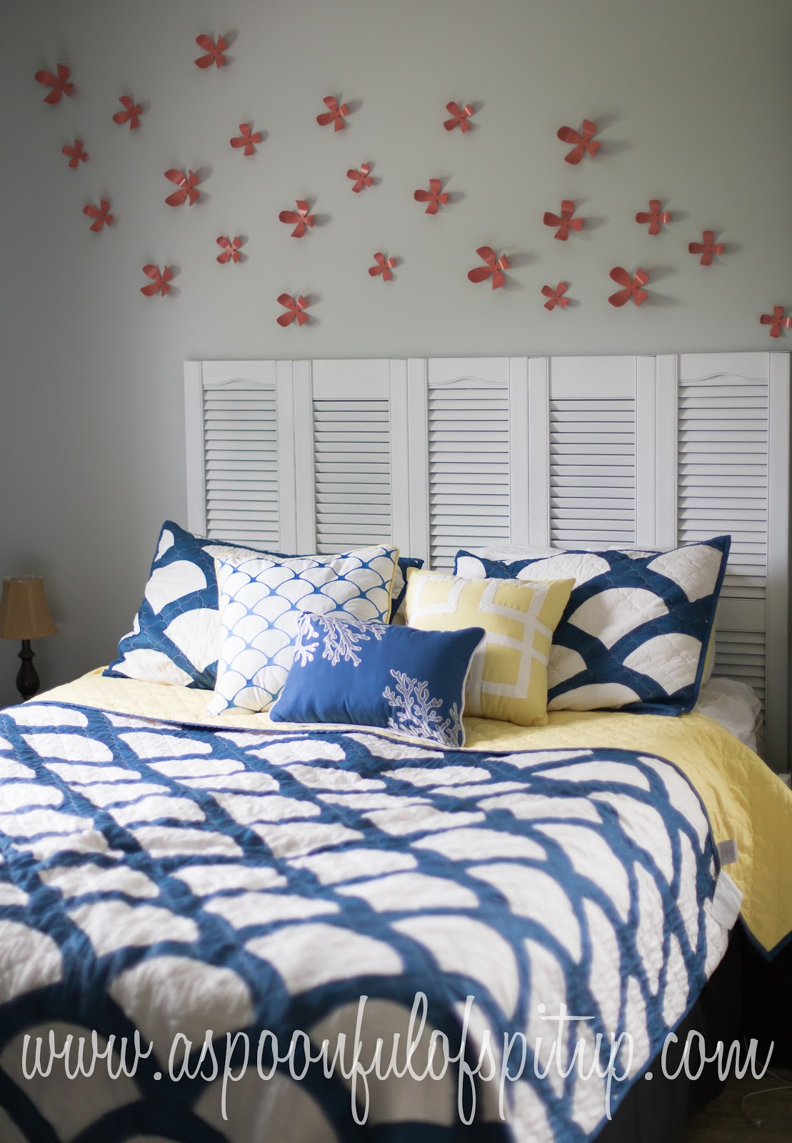 To See How Beautiful It Would Be There Are Holes In The Back Of Shutters So They Can Hung We Used Hooks On Wall Hang Headboard