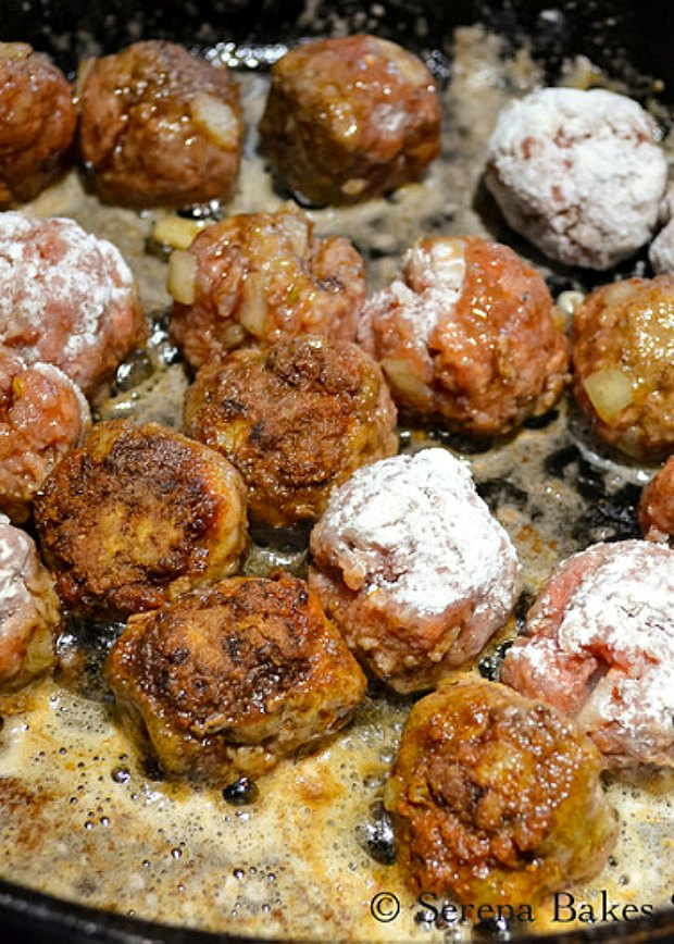 Fry Swedish Meatballs in butter working in batches.