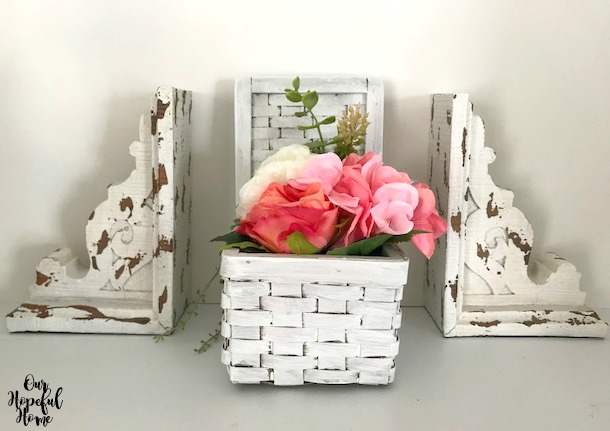 chippy furniture corbels bookends white basket peonies
