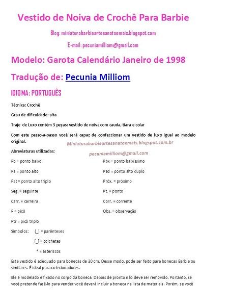 PAP em Português do Vestido de crochê de luxo para Barbie página 2
