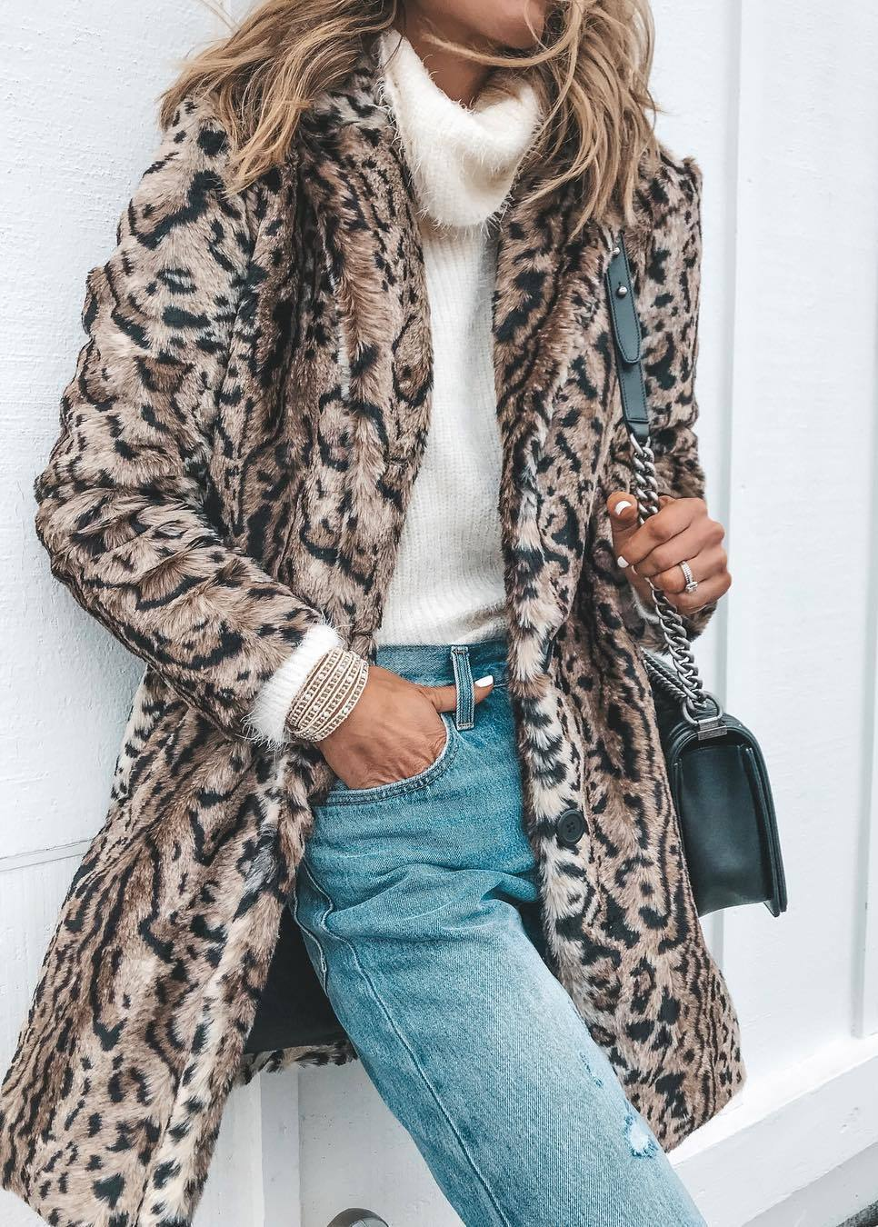 how to style a leopard coat : white sweater + boyfriend jeans