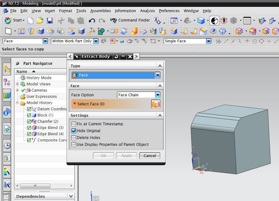 NX(UNI-GRAPHICS) TUTORIAL: HOW TO USE EXTRACT BODY IN SIEMENS NX (UG)