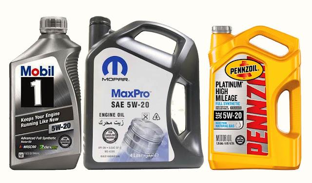SAE-5W-20-mobil-1-mopar-pennzoil-engine-oil