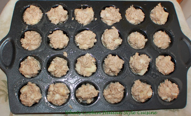these are an apple scone batter baked into mini muffin pans. The batter is exactly like a homemade from scratch apple scone recipe. I made them easier to eat scones by using a mini muffin tin.