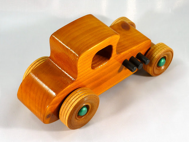 Top Right Rear - Wooden Toy Car - Hot Rod Freaky Ford - 37 T Coupe - Pine - Amber Shellac - Metallic Green Hubs