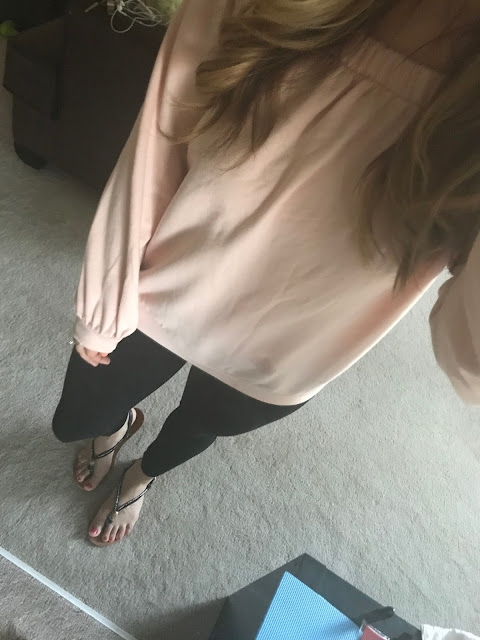 Forever 21 Pink off the shoulder sweater with Black Skinny Pants
