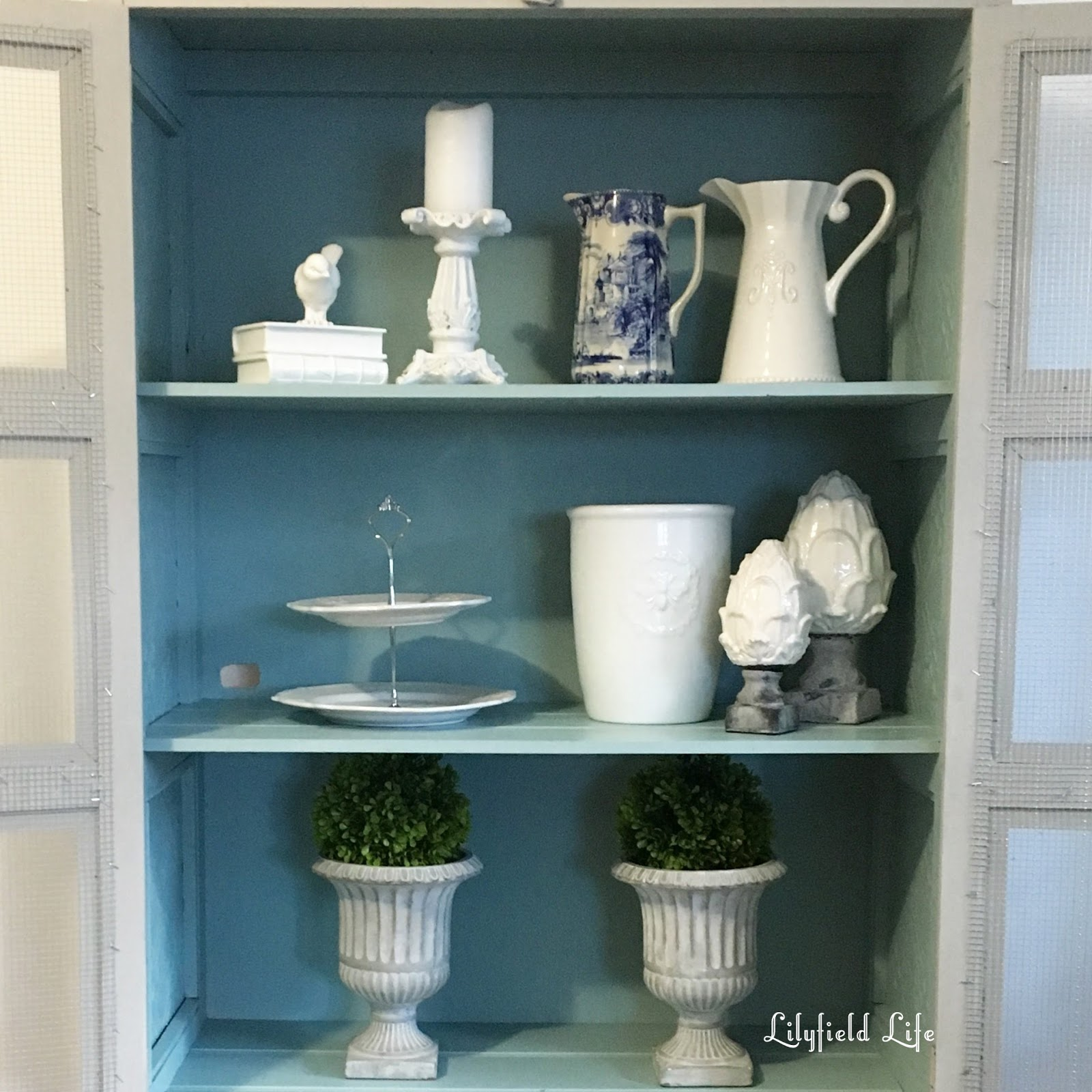 Lilyfield Life Pressed Tin And Chicken Wire Cabinet