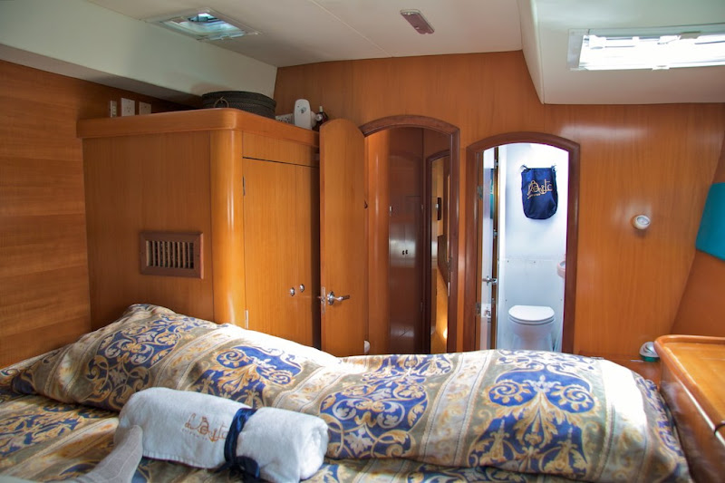 Catamaran bedroom with bathroom