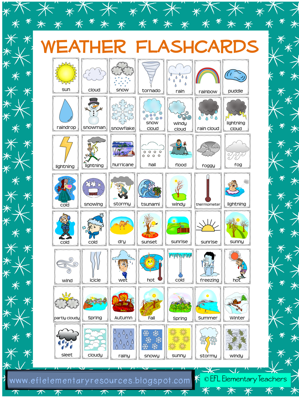 efl elementary teachers weather flashcards activities for esl efl learners. Black Bedroom Furniture Sets. Home Design Ideas