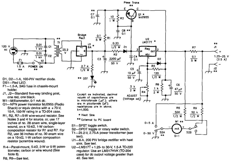 25A125 To 25V Regulated Power Supply Circuit Diagram