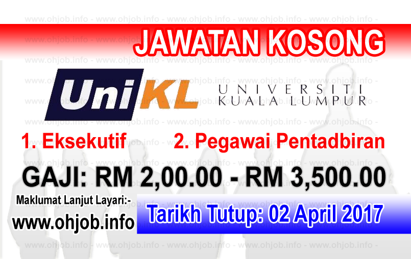 Jawatan Kerja Kosong UniKL - Universiti Kuala Lumpur logo www.ohjob.info april 2017