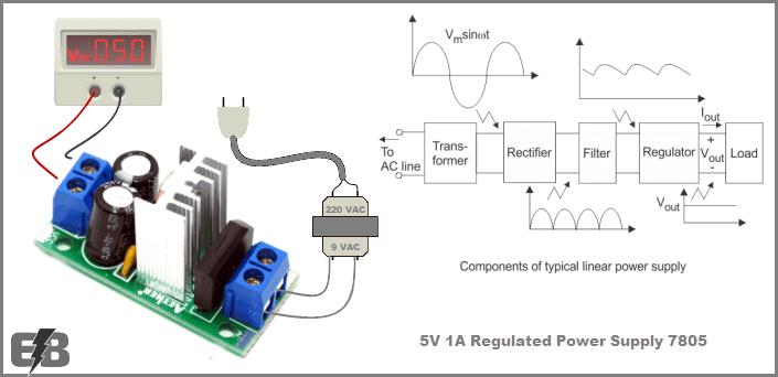 دائرة منظم جهد 5V وتيار 1A بإستخدام 7805