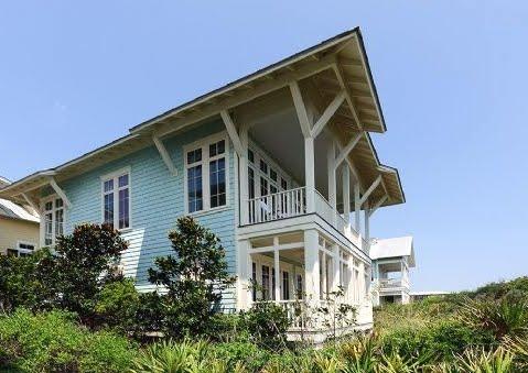 seaside cottage in aqua blue