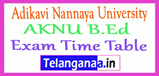 Adikavi Nannaya University AKNU B.Ed Exam Time Table