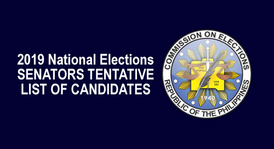 LIST: Tentative Candidates National Positions - Senators