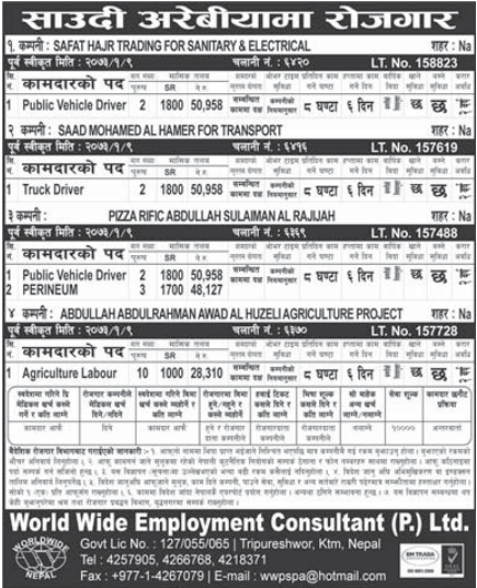Jobs For Nepali In Saudi Arabia,  Salary -Rs.50,958/