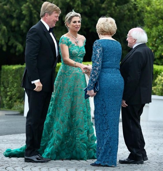 Queen Maxima wore a green lace gown by Jan Taminiau. Lace dress by Dutch designer Jan Taminiau. Green diamond earrings, tiara, necklace