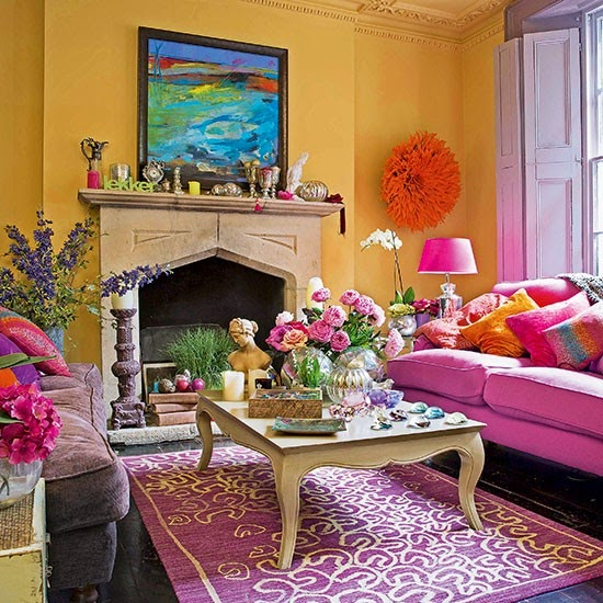 marvellous turquoise yellow living room | Eye For Design: Decorating With The Pink/Yellow Color ...