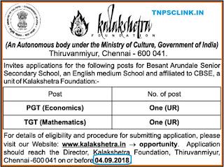 PGT, TGT Teacher Posts Vacancy in Chennai Kalakshetra Foundation