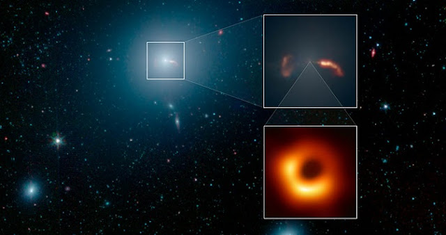 This image from NASA's Spitzer Space Telescope shows the elliptical galaxy Messier 87 (M87), the home galaxy of the supermassive black hole recently imaged by the Event Horizon Telescope (EHT). Spitzer's infrared view shows a faint trace of a jet of material spewing to the right of the galaxy - a feature that was previously one key indicator that a supermassive black hole lived at the galaxy's center. Credit: NASA/JPL-Caltech/IPAC/Event Horizon Telescope Collaboration