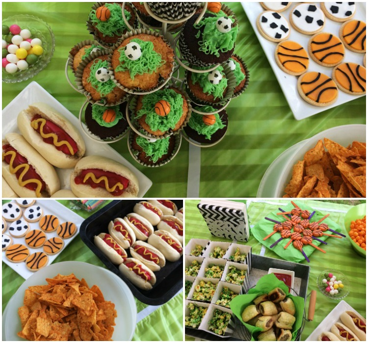 Sports Party themed food - Sports ball cupcakes, cookies and mini hotdogs