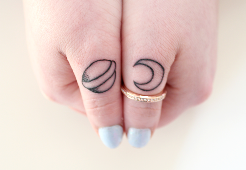 thumb tattoos moon planet