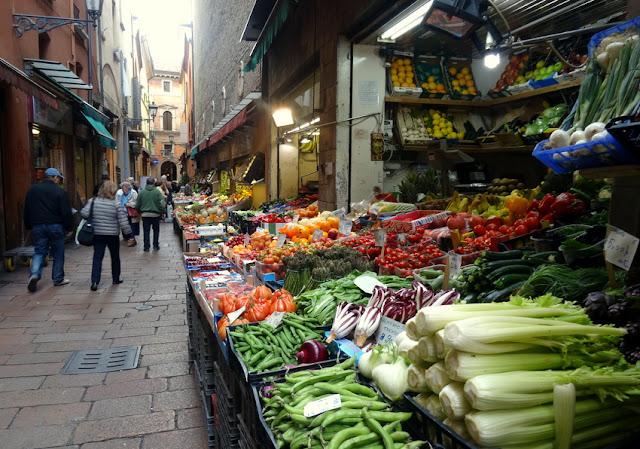 The Quadrilatero Market in La Grassa Bologna, Italy