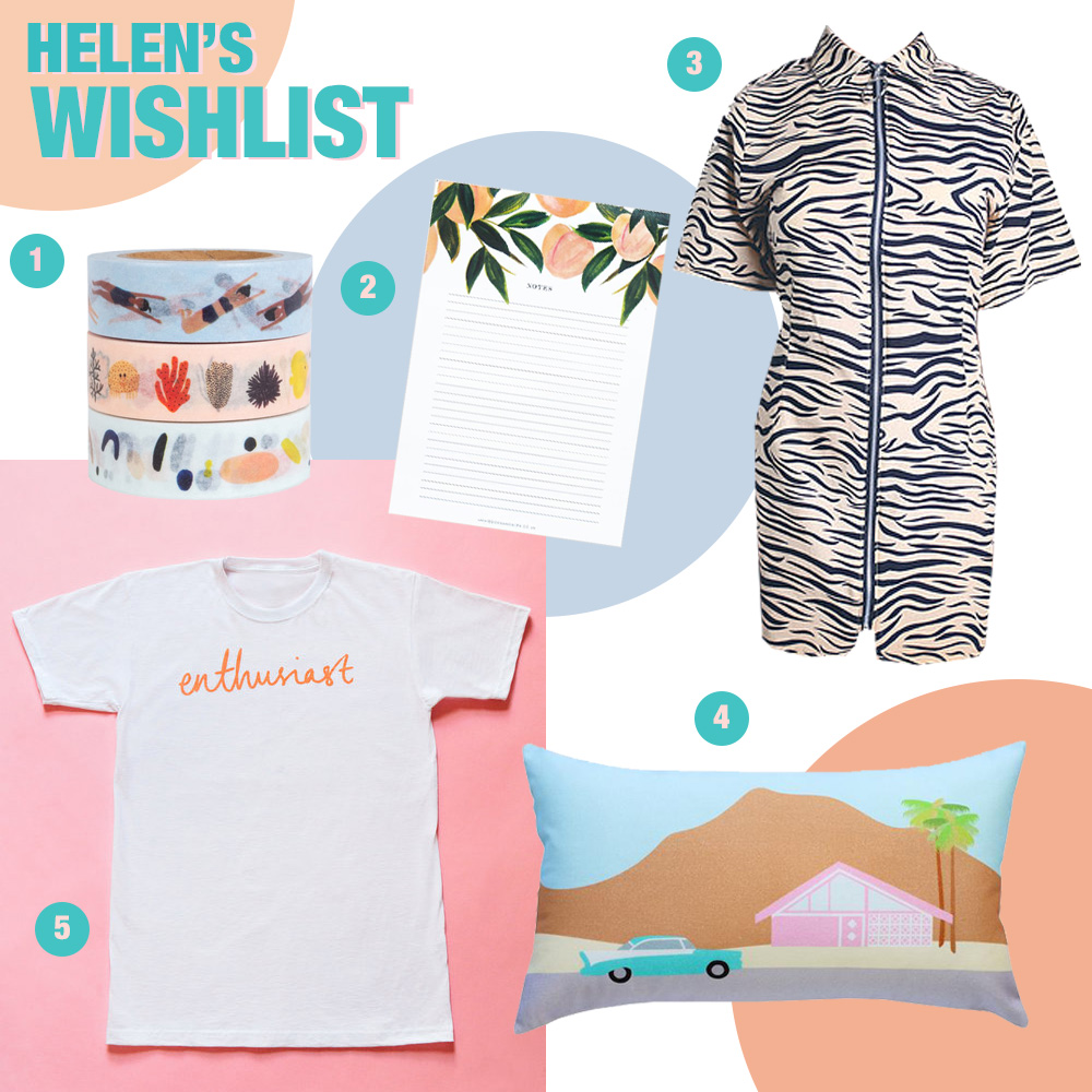 Summer wishlist from Scottish blogger Helen of Wardrobe Conversations featuring, summer washi tape by illustrator Kate Pugsley, peach print note pad by Annie Dornan Smith, tiger print shirt dress by Hayley Scanlan, Palm Springs printed cushion by Finest Imaginary and Nikki McWilliams and enthusiast tshirt from The Wedding Enthusiast