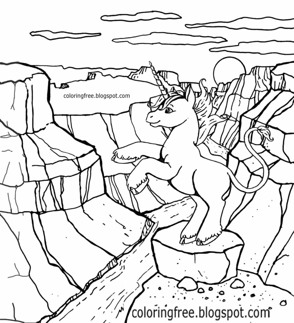 Printable Unicorn Drawing Mythical Coloring Book Pictures