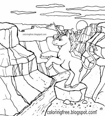 Enjoyable kids art flight of the imagination magical landscape cute unicorn coloring pages printouts