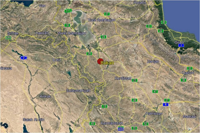 Map Attribute: Location of Kurdish attack on July 7 in the vicinity of Bukan City /Source: Google Maps