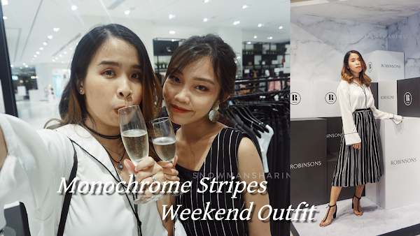 Monochrome Stripes Weekend Outfit OOTD Lookbook