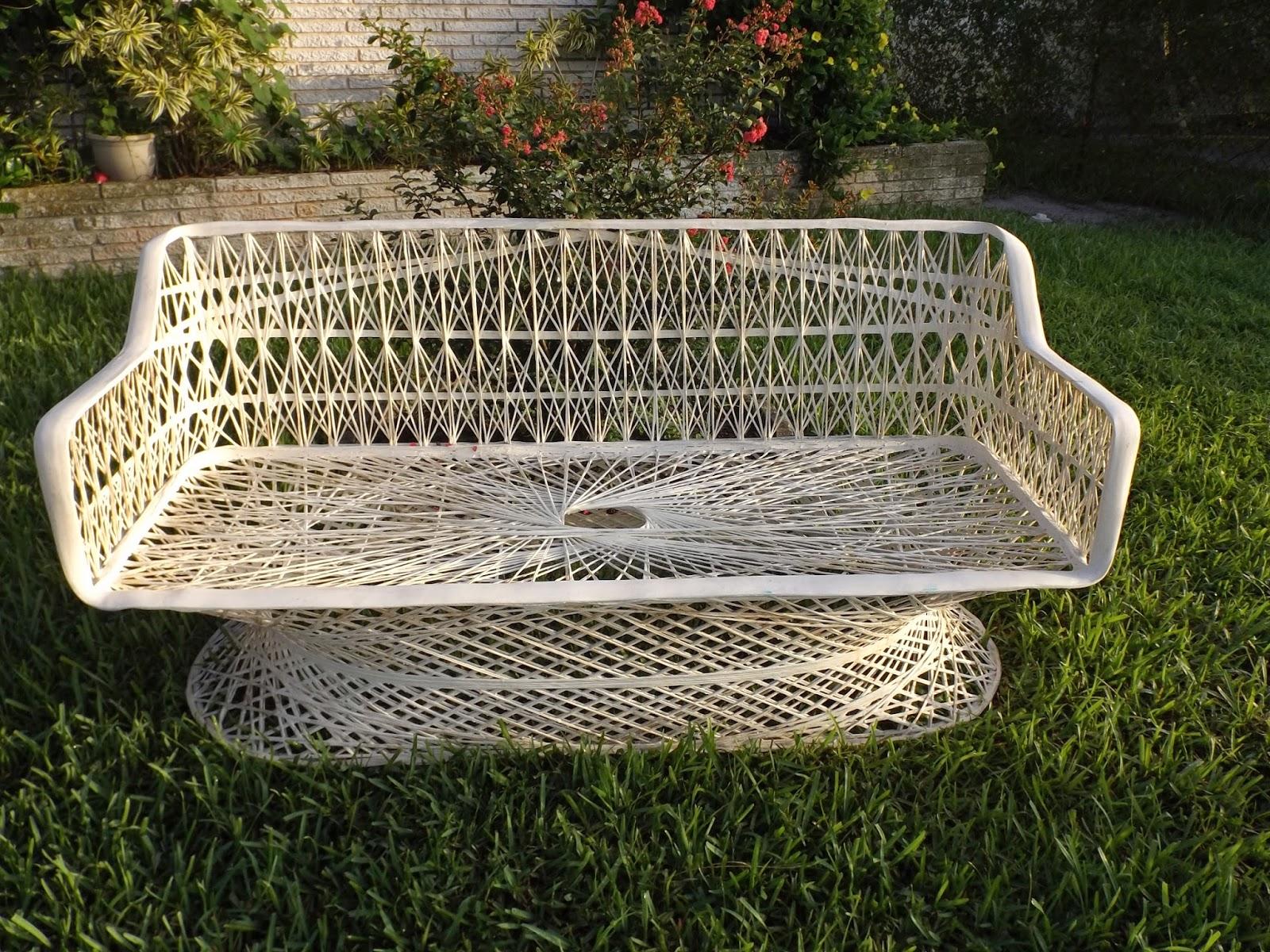Vintage Rus Woodard Style Patio Chair Spun Fibergl Loveseat Sofa Settee Deck Furniture Mid Century Lawn Outdoor Seating