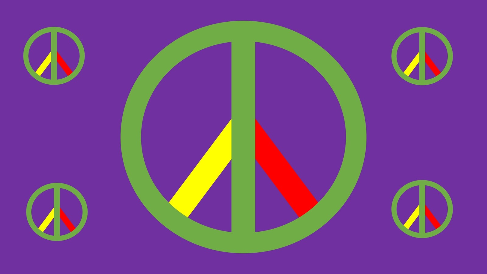 Peace signs on a purple background for Stinky Ninja