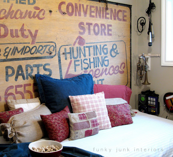 old sign headboard & SNS 142 - Unique headboards for your bedroom - Funky Junk ...
