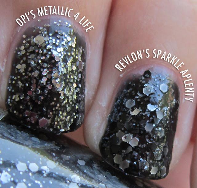 OPI Metallic 4 Life Vs. Revlon Sparkle Aplenty