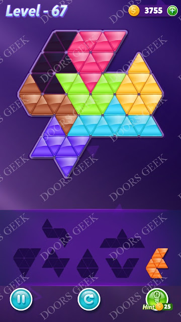 Block! Triangle Puzzle Advanced Level 67 Solution, Cheats, Walkthrough for Android, iPhone, iPad and iPod
