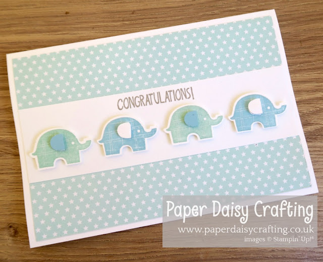 Stampin Up Little Elephant blue baby card