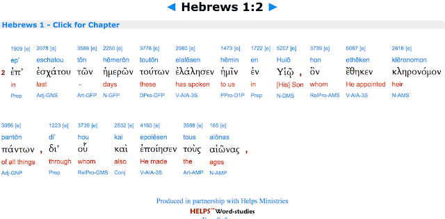The CORRECT translation of Hebrews 1:2.