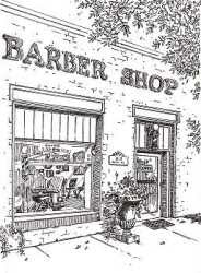 Norcross Georgia barber shop 2003 pen ink sketch plein air by artist Jillian Crider