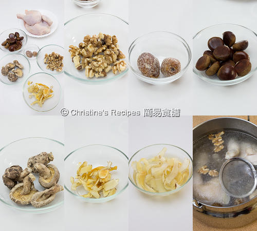 栗子核桃冬菇玉竹煲雞湯料 Chestnut Walnut and Chicken Soup Ingredients