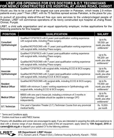 LRBT Latest Jobs in Eye Hospital Jhang Road Chiniot  Today July 2018