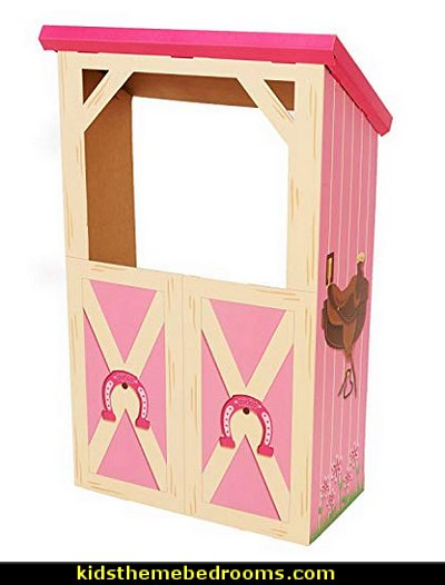 Pink Cowgirl Room Decorations - Barn Stable Cardboard Playhouse Stand In Photo Prop   horse theme bedroom - horse bedroom decor - horse themed bedroom decorating ideas - Equestrian decor - equestrian themed rooms - cowgirl theme bedroom decorating ideas - Dressage Wall Decals - English riding theme - equestrian bedding - Horse Riding bedding - horse stuff for your bedroom - Pony bedroom ideas -