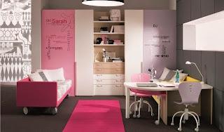 habitación color rosa y gris