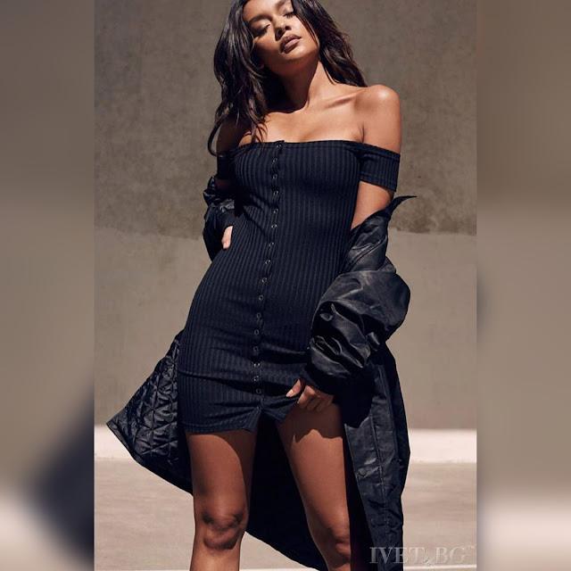 Strapless κοντό μαύρο φόρεμα BAREA