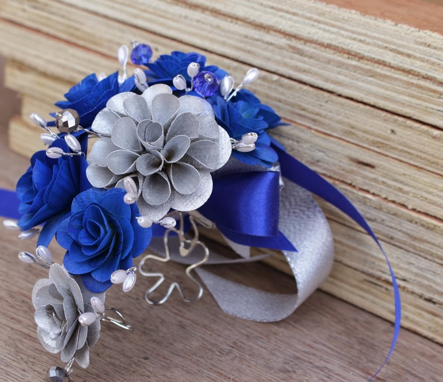 wooden flowers wedding bouquets blue silver ivory wedding bouquets corsages and 1486