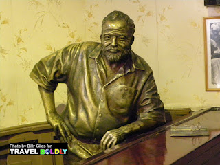 Bronze bust of Ernest Hemingway at La Floridita in Habana Viieja. Cuba - TravelBoldly.com