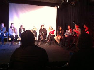 Jo Osborne, writer and director of Requital, speaks at Ax Wound Film Festival's Q&A