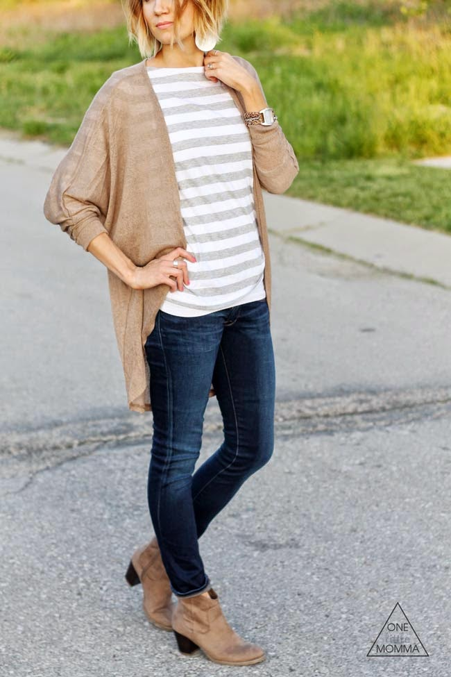 Neutral, solid kimono paired with stripes, dark denim and ankle boots